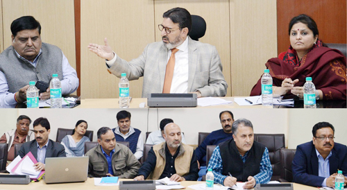 Minister for Education Syed Mohammad Altaf Bukhari chairing a meeting at Jammu on Wednesday.