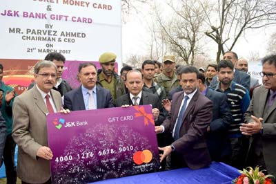 Chairman and CEO of J&K Bank Parvez Ahmed launching prepaid and pocket money cards on Tuesday.