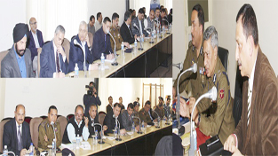 DGP Dr S P Vaid chairing a meeting at Jammu on Wednesday.