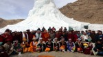Dignitaries and others standing in front of artificial Ice-Stupa at Leh.  —Excelsior/Morup Stanzin