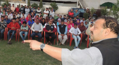 National Conference Provincial President Devender Singh Rana addressing a gathering at Nagrota on Saturday.