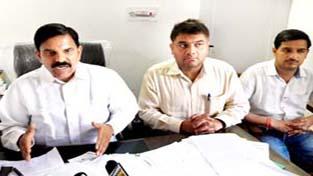 NPP chairman, Harsh Dev Singh addressing press conference in Jammu on Sunday.