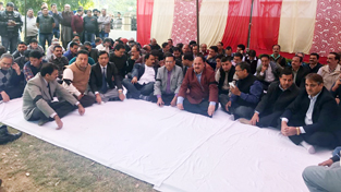 Engineers staging dharna at Jammu on Wednesday.