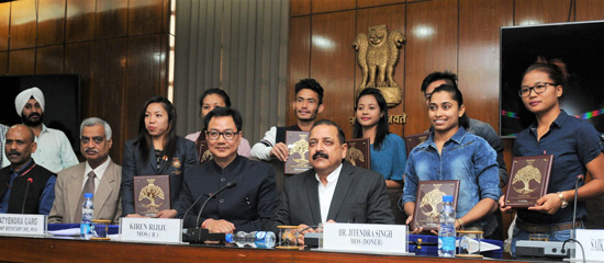 Union DoNER Minister Dr Jitendra Singh, flanked by MoS Home Kiren Rijiju, posing for photograph with the Rio Olympics youth participants from Northeast, at New Delhi on Tuesday.