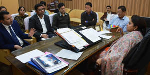 Minister of State of Tourism Priya Sethi chairing a meeting at Jammu on Thursday.