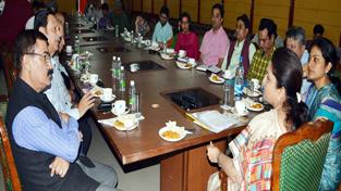 MoS for Tourism Priya Sethi chairing a meeting at Jammu on Friday.