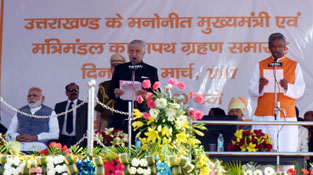 Prime Minister, Narendra Modi attends the oath taking ceremony of Trivendra Singh Rawat as Uttarakhand Chief Minister, in Dehradun, Uttarakhand on Saturday.