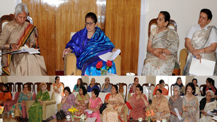 First Lady Usha Vohra chairing the meeting of Association for Social Health in India (ASHI) at Raj Bhavan on Friday.