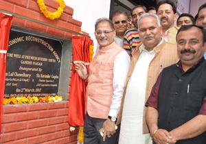 Speaker Legislative Assembly Kavinder Gupta and Minister for PHE Sham Lal Choudhary inaugurating a tube well at Gandhi Nagar on Thursday.