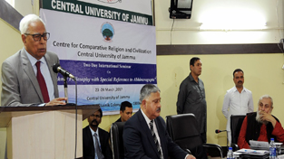 Governor N N Vohra addressing a gathering at Central University of Jammu on Thursday.