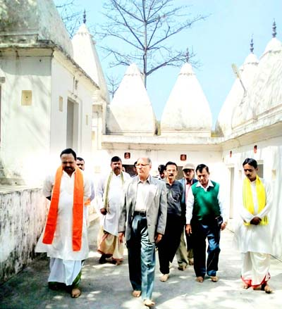 Dharmarth Trust president, B R Kundal along with others taking stock of developmental works at Purmandal Temple.