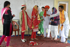 Children presenting a play at Reasi.