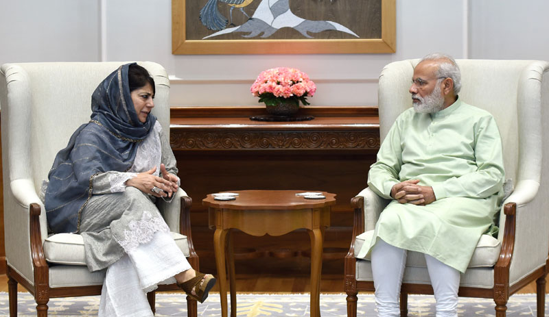 The Chief Minister of Jammu and Kashmir, Ms. Mehbooba Mufti calling on the Prime Minister, Shri Narendra Modi, in New Delhi on Monday
