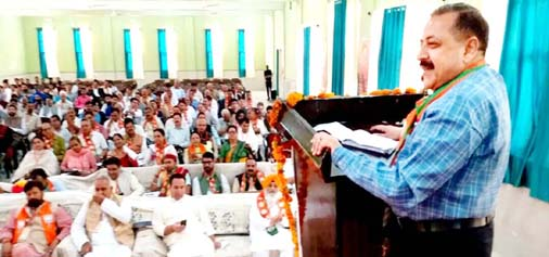 Union Minister in PMO, Dr Jitendra Singh addressing Party Working Committee meeting at Doda on Sunday.-Excelsior/Rakesh
