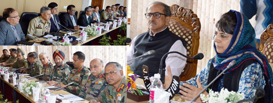 Chief Minister Mehbooba Mufti and Deputy Chief Minister Dr Nirmal Singh at Unified Headquarters meeting in Srinagar on Tuesday.