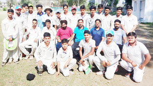 Teams of RCC and Bhatia CA posing for a group photograph alongwith the dignitaries and officials at GGM Science College Hostel ground in Jammu.