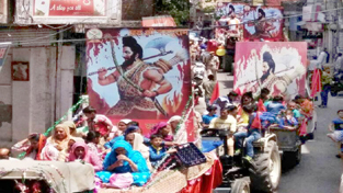 Shobha Yatra being taken out on eve of Parshuram Jayanti.