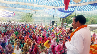 Balwant Singh Mankotia addressing gathering during a religious gathering on Sunday.