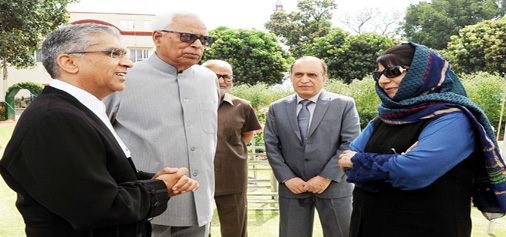 Governor NN Vohra and CM Mehbooba Mufti with Justice Badar Durrez Ahmed at Raj Bhawan on Saturday.