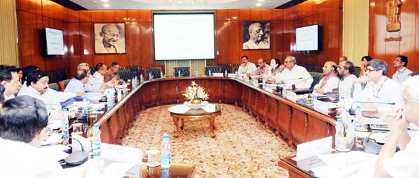 Union Home Minister Rajnath Singh chairing a high level meeting to review the progress of PMDP in New Delhi on Thursday. (UNI)