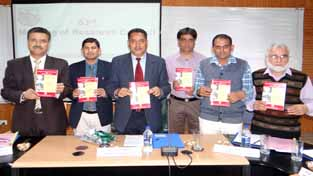 SKUAST-K VC releasing manual on Green House Technologies during Research Council meeting on Thursday.