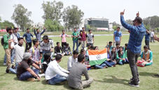 Students protesting against disrespect to National Anthem at Jammu University on Friday.