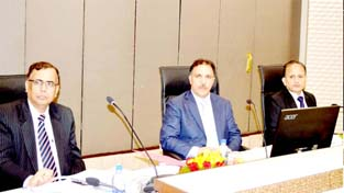 J&K Bank Chairman Parvez Ahmed during meeting in Srinagar on Monday.