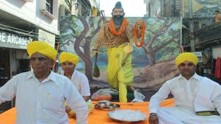 Bhagwan Parshuram Shobha Yatra being taken out in Jammu city on Thursday. — Excelsior/Rakesh