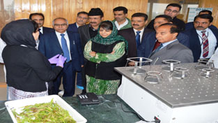 CM Mehbooba Mufti during the inauguration of Indo-Dutch Orchard at SKUAST in Srinagar on Saturday.