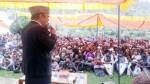 AICC leader, Ghulam Nabi Azad addressing public meeting in Bhaderwah on Wednesday.    —Excelsior/Tilak Raj