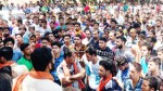 Locals protesting against police during Reasi bandh on Tuesday.