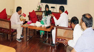 Chief Minister Mehbooba Mufti interacting with a delegation in Jammu on Thursday.