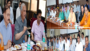 Minister for Revenue A R Veeri addressing the officials at Revenue Conference in Jammu on Saturday.