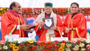 Himachal Pradesh CM Virbhadra Singh receiving a memento from Prof Neelu Rohmetra, Director IIM Sirmaur during convocation on Saturday.