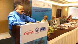 Union Minister Dr Jitendra Singh, as chief guest, addressing the inaugural session of conference on Non-Communicable Diseases at India Habitat Centre, New Delhi on Tuesday.