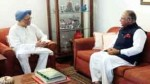 Senior Cong leader from Kashmir Tariq Hamid Karra at meeting with former PM Dr Manmohan Singh in Delhi on Tuesday.