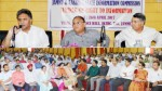 Chief Secretary B R Sharma, Chief Information Commissioner Khurshid A Ganai and others addressing a gathering in Jammu on Wednesday.