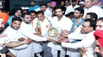AIYC chief Amrinder Singh Raja being felicitated by PCC, chief GA Mir and others during party function in Jammu on Tuesday.