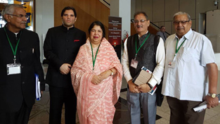Speaker Legislative Assembly Kavinder Gupta & others posing for a photograph during CPA meeting.