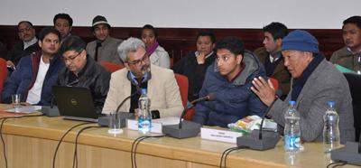 Ladakh Affairs Minister Chering Dorjay chairing a meeting at Leh on Thursday.