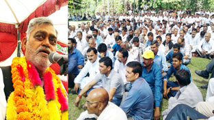 Senior Cong leader and MLC, Th Balbir Singh addressing public meeting in Billawar on Sunday.