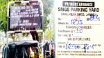 A board displaying parking rates at SMGS Hospital (left) and a parking slip showing overcharging from a two-wheeler owner (right).