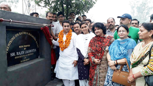 MLA Rajiv Jasrotia inaugurating development work on Sunday.