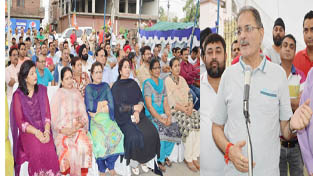 Speaker Legislative Assembly,  Kavinder Gupta addressing a public meeting at Jammu on Sunday.