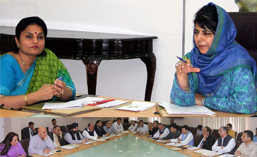 Chief Minister Mehbooba Mufti addressing second meeting of TAB in Srinagar on Monday.