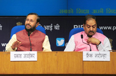 Union Minister for Human Resource Development, Prakash Javadekar briefing the media about the various initiatives taken by the Government in the direction of ensuring quality education affordable by all, in New Delhi on Tuesday.
