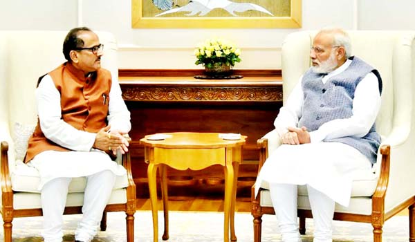 Deputy CM Dr Nirmal Singh in a meeting with Prime Minister Narendra Modi in New Delhi on Thursday.
