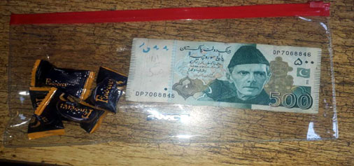 Pakistani currency and other items recovered from  slain intruder in KG sector on Sunday. —Excelsior/Harbhajan