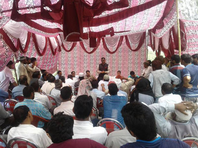 MLA Javed Rana addressing public meeting in Mendhar area of Poonch on Thursday.