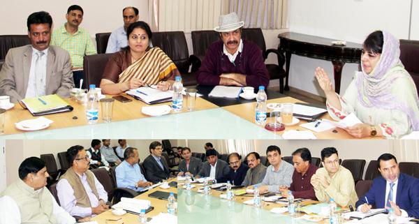 Chief Minister Mehbooba Mufti addressing GDA meeting in Srinagar on Tuesday.